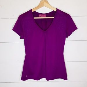 ATHLETA VELOCITY TEE V-Neck Lace Athletic Shirt M